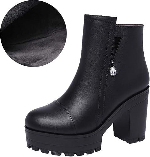 YAN Bottines pour Femmes, Bottines à Plateforme Bottes à Talons Talons Hauts Bottes pour Femmes Zipper Bottillons d'hiver Chaussures habillées Noir (Couleur   B, Taille   38)  jusqu'à 70% de réduction