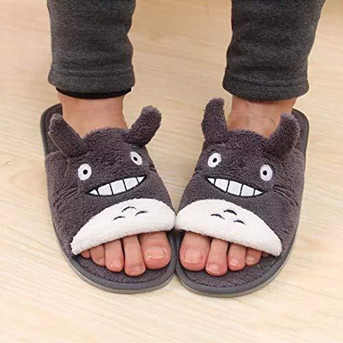 XLBHSH Totoro Totoro Ultra SOUD SOUTE SLIGENCIAS Mujer COMPY PESCE Boca ABIERTE Toe Superior sobre Soft sobre Fleece CASA DE CASA con Suelo DE Mudo Anti-Slip para Hombres Mujeres,Negro,M
