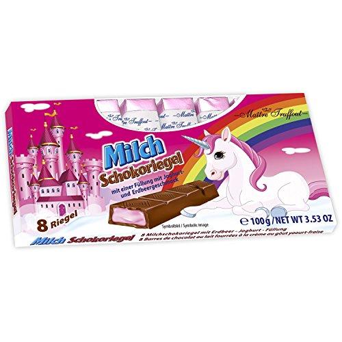 Milchschokolade mit Erdbeer - Joghurtcremefüllung EINHORN EDITION (100 g / 8 Riegel)