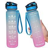 Trinkflasche 1L mit Motivationszeitmarkierung Herausnehmbaren Strohhalm/Fruchtfilter Tritan BPA-frei Blau
