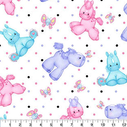 A.E. Nathan Comfy Flannel Print Ponies White Fabric Fabric by the Yard