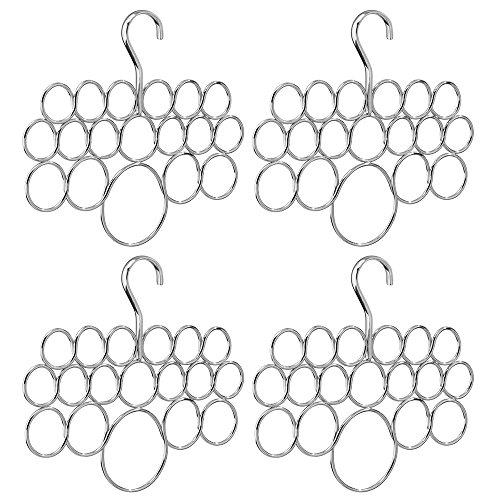 InterDesign Axis Schalhalter mit 18 Ringen, Hängeorganizer für Schals, Tücher, Krawatten, Gürtel etc. aus Metall, 4er-Set Tuchhalter, silberfarben