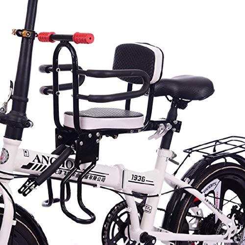 LuoKe Asiento de Bicicleta para niños Silla de Montaje Frontal para niños Desmontaje rápido Asiento de Seguridad con barandilla Reposabrazos y Pedal para Bicicleta Electrombil