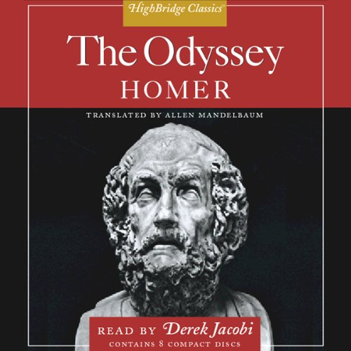 The Odyssey                   By:                                                                                                                                 Homer,                                                                                        Allen Mandelbaum - translator                               Narrated by:                                                                                                                                 Derek Jacobi                      Length: 9 hrs and 17 mins     Not rated yet     Overall 0.0