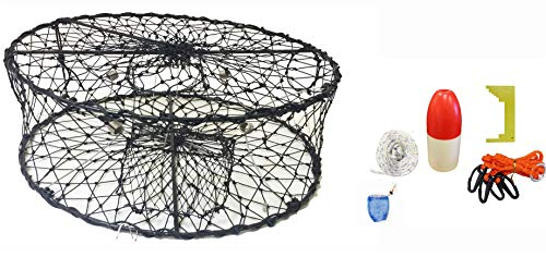 KUFA CT50+CAS3 Sports Foldable Crab Trap with Red/White Floats Harness Bait Bag