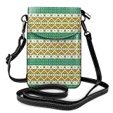 Jiger Women Small Cell Phone Purse Crossbody,Colorful Tribal Ancient Local Motif Pattern Ethnic Print