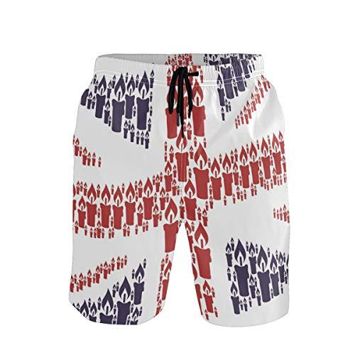 Herren Badehose Union Jack UK Flag Kerze Style Quick Dry Beach Shorts mit Taschen Gr. Verschiedene Größen, Mehrfarbig