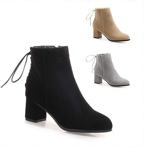 ZHRUI Stiefel para damen - Stiefel para la Moda de Invierno Stiefel morrales en Punta de Inglaterra   34-43 (Farbe   schwarz, tamaño   35)