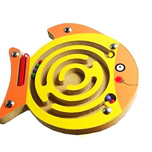 Deanyi Mini Stylo magnétique Conduite Aimant de Labyrinthe en Bois Labyrinthe pour Enfants 3 Ans et Plus - Cadeau de Noël Parfait (Poisson) 1pc
