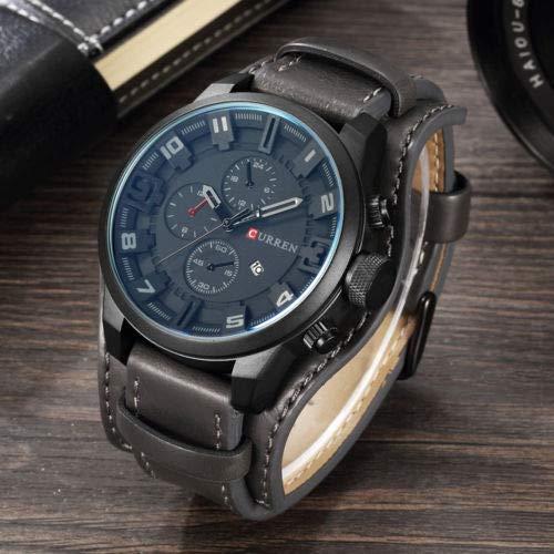 Preisvergleich Produktbild Leder herrenuhr,  Armee militär Quarz herrenuhren Luxus 3