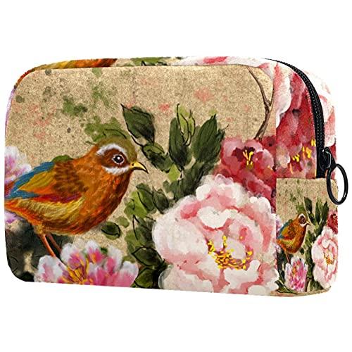 Bolsa de Maquillaje compacta Bolsas de cosméticos de Viaje portátiles para Mujeres niñas Neceser,Flor de pájaro