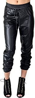 jogger pants with leather