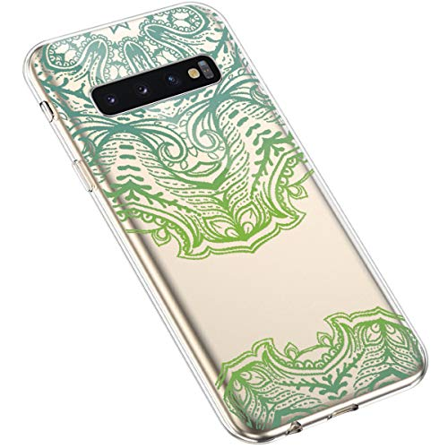 Uposao Kompatibel mit Samsung Galaxy S10 Handyhülle Transparent mit Muster Motiv TPU Silikon Schutzhülle Case Crystal Clear Handytasche Dünn Stoßfest Bumper Backcover,Grün Mandala Blumen