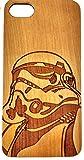 Apple iPhone 5 / 5S / SE Star Wars Storm Trooper Estuche de madera ecológico tallado natural Láser híbrido Grabado Funda protectora ultra delgada para la espalda