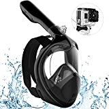 IOO Snorkel Mask Full Face for Adult Youth and Kids 180 Degree Panoramic View Anti-Fog & Anti-Leak GoPro Compatible Snorkeling Set Black Red S/M