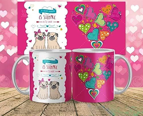 Kembilove Taza de café para Pareja de Enamorados - Taza Mi Lugar Favorito Siempre a tu Lado Regalo Original para Novios y Novias San Valentín - Taza de Desayuno para Regalar Enamorados, Cumpleaños