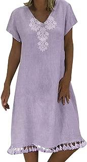 Dresses for Women Casual Bohemian Floral Embroidered Short Sleeve O-Neck Dress Fashion Tunic T-Shirt Mini Dresses