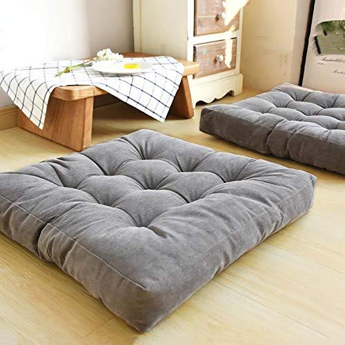 Seat cushion Solide Quadratische Boden Kissen,getuftet Verdicken Sie Cord Stuhl-Pads Für Büro Yoga Meditation Balkon Tatami Bodenkissen-grau 55x55cm(22x22inch)