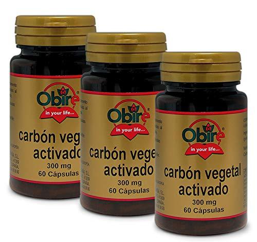 Carbón vegetal activado 300 mg. 60 capsulas (Pack 3 unid.)