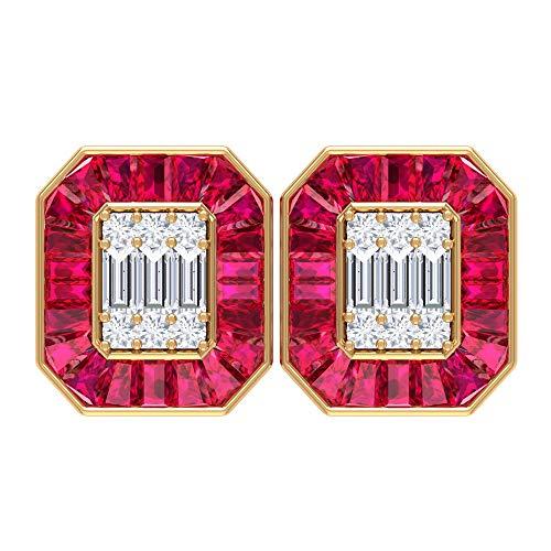 Pendientes de boda, pendientes en forma de octágono, pendientes HI-SI 0,54 quilates, pendientes de rubí de 7,5 quilates con halo de rubí, 18K Oro amarillo, Par