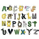 SUPVOX Adesivi in stoffa per lettere 26 Alfabeto inglese Figure di animali Patch per ricam...