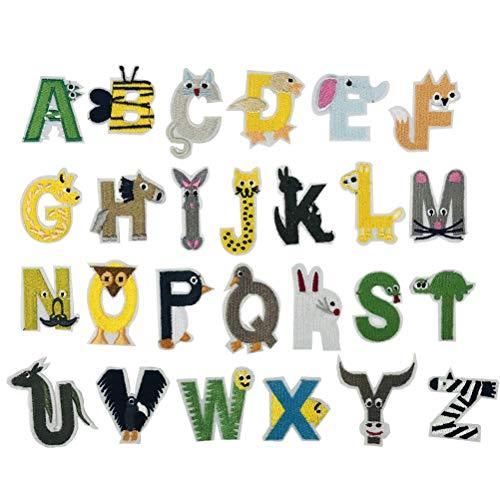 SUPVOX Adesivi in stoffa per lettere 26 Alfabeto inglese Figure di animali Patch per ricami per cappelli Accessori per abbigliamento 26Pz