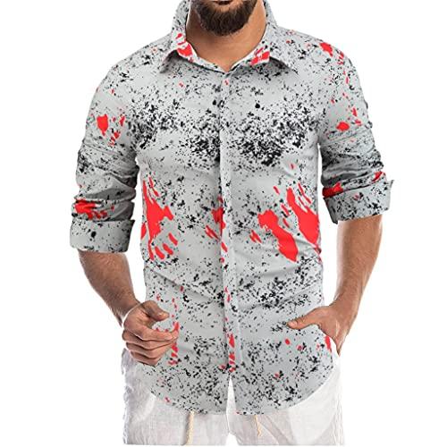 SLATIOM Camisa de otoño para hombre, estampado de solapa, manga larga, de un solo pecho, personalidad, moda,...