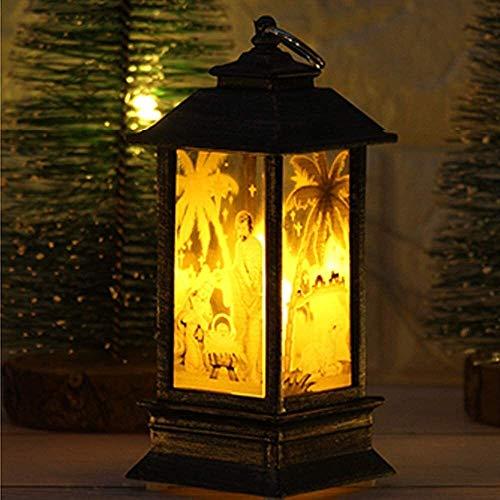 ccfgh Weihnachten Aussenleuchten Weihnachtsdekorationen Lichter Vintage-Weihnachtskerze mit LED-Teelicht Flamme...