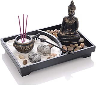 Astra Gourmet Tabletop Zen Garden with Buddha, Rake, Sand, Rock Candle, Rock Garden, and Incense Holder - Peace and Tranquility - for Home Decor Gift, Meditation, Relax(9