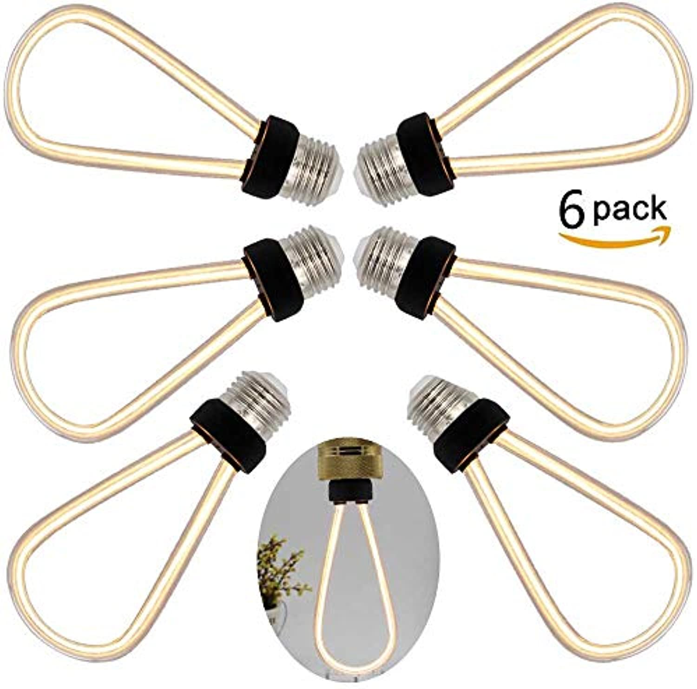 6 x 4W LED Edison Glühbirne, ST64 U-Typ, E27 Fassung, Dimmbar, Auccy LED-Birne, 2200K, Antike Filament Beleuchtung im Retro Fltenrohr Glühbirne Vintage Look