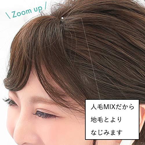 [AQUADOLL(アクアドール)]ウィッグ前髪ウィッグゆるカールサイド付流し前髪人毛MIXポイントウィッグフリーサイズNBKM.ナチュラルブラック人毛MIXpp004NBKM