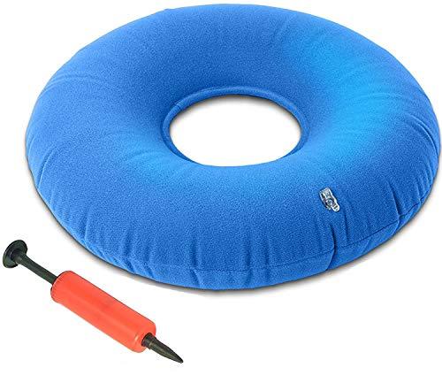 Yfox - Cuscino gonfiabile ad anello con ciambella, cuscino ad anello in spugna, per emorroidi, prostata, gravidanza, post-operatorio e sciatica, adatto per auto, ufficio e viaggi (blu)