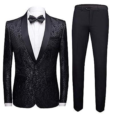 Mens 2 Piece Floral Jacquard Dress Suit Set 1 Button Print Dinner Jacket Pants Black from