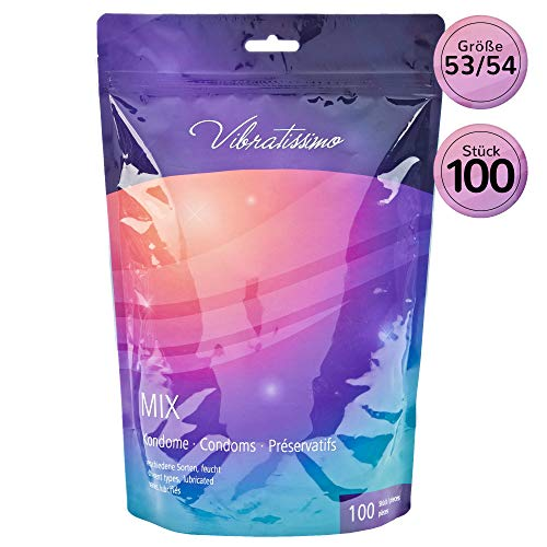 Paquete de 100 preservativos variados VIBRATISSIMO para una sensación auténtica, real y extra húmeda