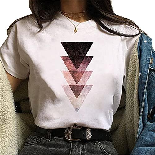 shirts Hermosa Geometría Impreso t Mujeres 90s Gráfico T Harajuku Tops Tee Lindo Manga Corta Animal Camiseta Femenina Camisetas