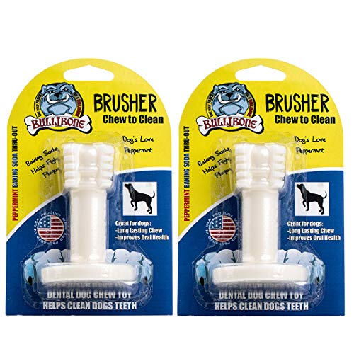 Bullibone Brusher: Dog Teeth Cleaning Brushing Toothbrush Stick - Long Lasting Nylon Peppermint Chew Toy for Dog Oral Care and Dental Health for Small Dogs and Puppies