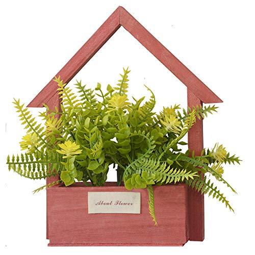 Home & Mas Kunstbloemen voor de tuin met rode bloempot van natuurlijk hout, gele bloemen, decoratief, vintage, 24 x 6 x 16 cm