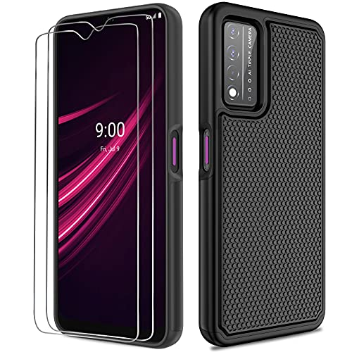 NTZW T-Mobile Revvl V+ 5G Case: Heavy Duty Shockproof Protective Phone Case [2 Tempered Glass Screen Protector] Anti-Slip Textured Hard Cover + Soft Silicone Rubber Bumper, Military Armor Case - Black