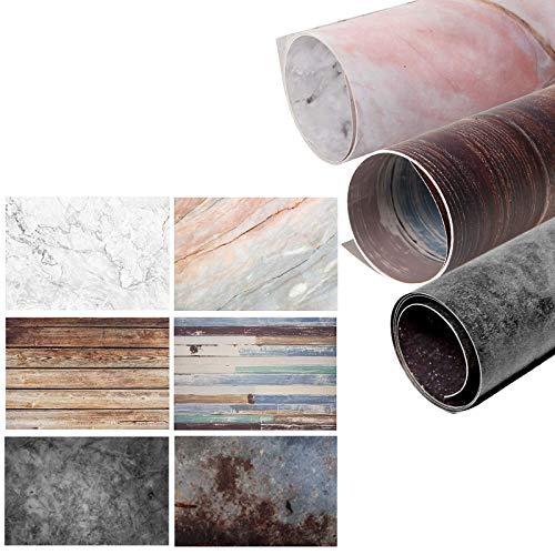 Selens 3 sztuki 2 w 1 tło marmurowe wielokolorowe słoje drewna i betonu ściana cementowa 56 x 88 cm płaski blat stołu fotografia dwustronne tło dla smakoszy blogerów, kosmetyków, zdjęć życia