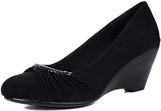 [OceanMap] 美脚 パンプス ウェッジソール 結婚式 大きいサイズ 黒 6.5cmヒール パンプス フラット 歩きやすい 疲れない 脱げない バレエシューズ ヒール アーモンドトゥ 屈曲性 軽い 走れる 仕事 旅行 カジュアル 25.5 22