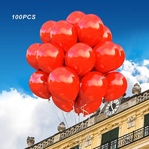 (100 Pack)12 Inch Thicken Round Latex Balloons -red Balloons, Creative Balloons for Party Supplies and Decorations, Birthday Balloon Arch Supplies Events Christmas Party. Loritada
