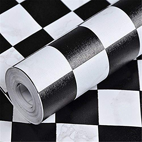 JINZAI PVC-Stereo Flache Wand Selbstklebende Tapete Wand Kleber Küche Badezimmer Schlafzimmer, 10 M P1075 schwarz-Weiss kariert, extra große