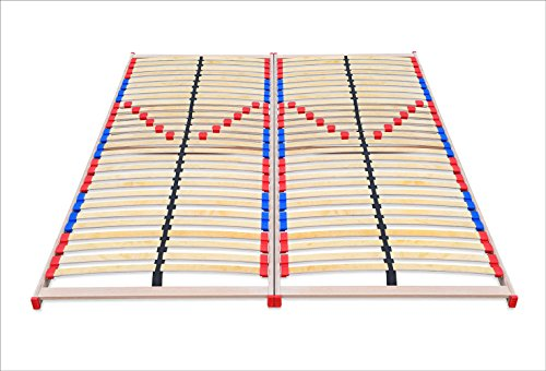 ECOFORM Lattenrost mit Härtegradregulierung + BEWEGLICH-ELASTISCHEN Duo-Kappen 140/160/180/200cm x 200cm - vom Hersteller (160 x 200 cm)