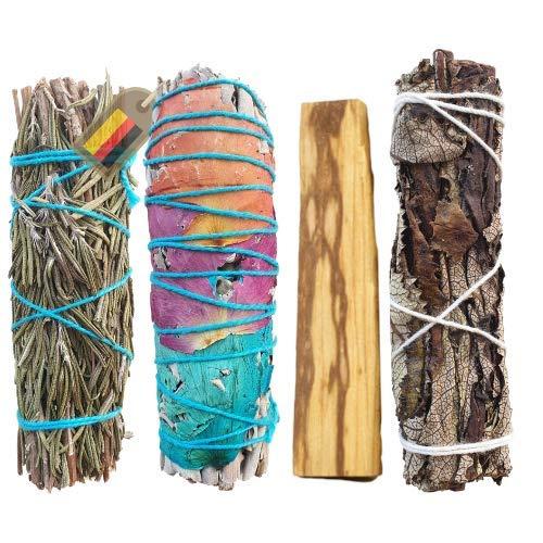 INFARBE Premium Smudge Kit zum Räuchern, Yerba Santa, weißer Salbei, Rosmarin, Palo Santo Räucherbündel zur energetischen Reinigung, Räucherstäbchen