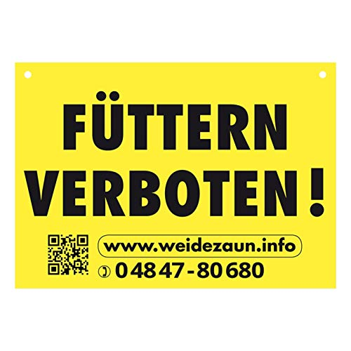 VOSS.farming Warnschild FÜTTERN VERBOTEN für den Weidezaun | Gelb hohe Sichtbarkeit | hochwertiger Kunststoff 200mm x 140mm | Pferd Rind Schaf Ziegen Elektrozaun Zaunanlage Hinweisschild