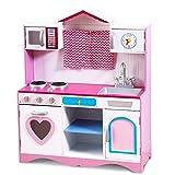 COSTWAY Large Girls Kids Pink Play Kitchen Set, Wooden Children's Role Toy Kitchen