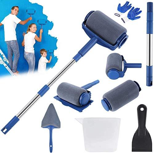 FIXKIT 9 Piezas Juego de Rodillos de Pintura , Juego de Rodillos de Pintura Profesional Multifuncional para Casas para Pintar Techos de Paredes en Hogares, Escuelas y Oficinas