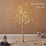 hairui betulla 120cm 72l per la decorazione domestica albero di natale bianco con luci led albero artificiale illuminato con scintillio parziale caratteristica