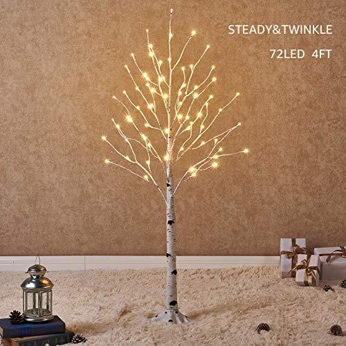 Hairui Árbol Abedul Preiluminado de 120CM y 72 Leds para la Decoración del Hogar Árbol de Navidad Blanco con Luces LED de Color Blanco Cálido, Árbol Artificial Iluminado con Parpadeo Parcial Salida