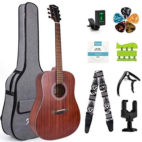 4/4 Size Acoustic Guitar Folk Guitarra for Professional 6 Metal Strings Mahogany Beginner Guitar Starter Kit with bag tuner strap capo hook hanger picks and replacement strings by Kmise(41 inch)